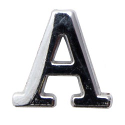 Silver Metallic Letter A With Clutch Pin