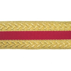 38mm Gold/Red Metallised Polyester Composite Lace