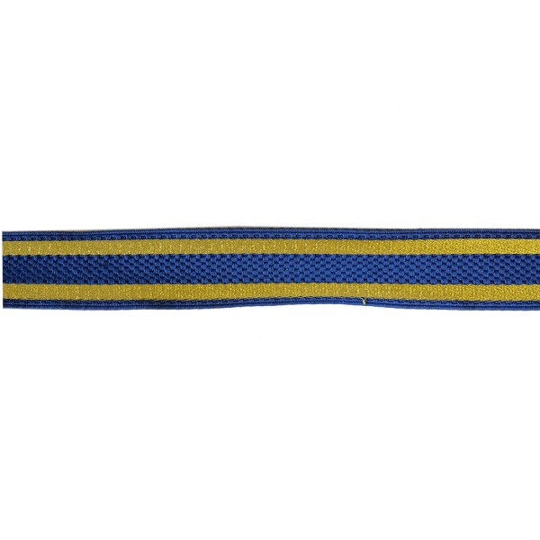25mm – Blue and Gold Striped - Cotton Composite Lace